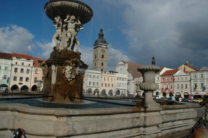 Panorama of Přemysl Otakar II Square with the Black Tower in the background