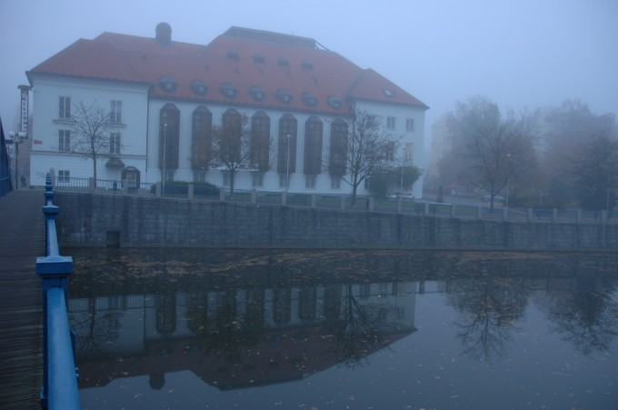 South Bohemian Theatre early in the morning, shrouded in a mist