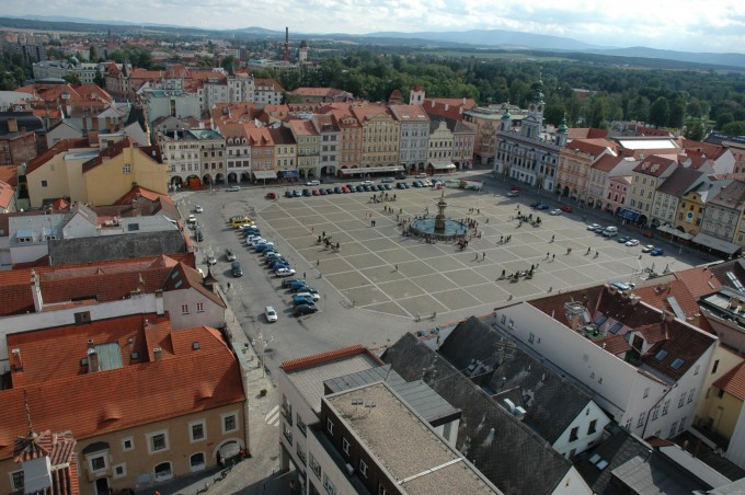 A view of Přemysl Otakar II Square from the Black Tower